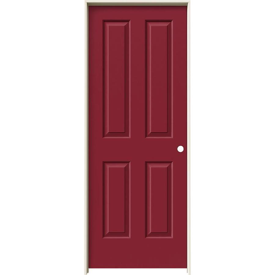 JELD-WEN Barn Red Prehung Hollow Core 4 Panel Square Interior Door (Common: 28-in x 80-in; Actual: 29.562-in x 81.688-in)