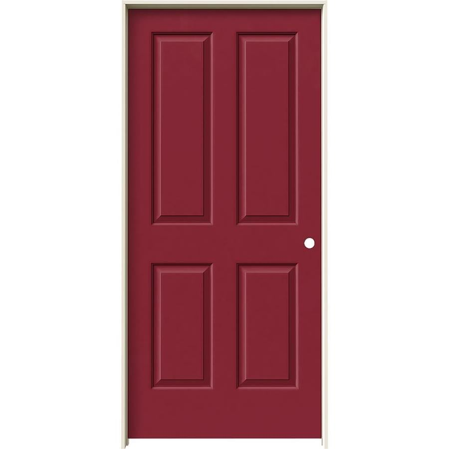 JELD-WEN Barn Red Prehung Hollow Core 4 Panel Square Interior Door (Common: 36-in x 80-in; Actual: 37.562-in x 81.688-in)