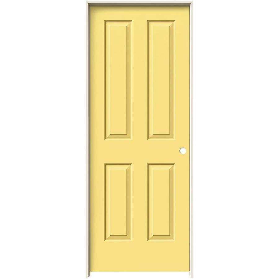 JELD-WEN Marigold Prehung Hollow Core 4 Panel Square Interior Door (Common: 28-in x 80-in; Actual: 29.562-in x 81.688-in)