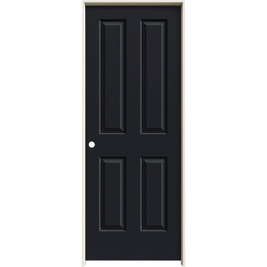 JELD-WEN Midnight Prehung Hollow Core 4 Panel Square Interior Door (Common: 32-in x 80-in; Actual: 33.562-in x 81.688-in)