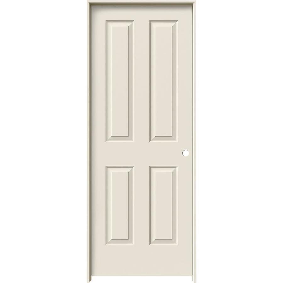 JELD-WEN Prehung Hollow Core 4 Panel Square Interior Door (Common: 32-in x 80-in; Actual: 33.562-in x 81.688-in)