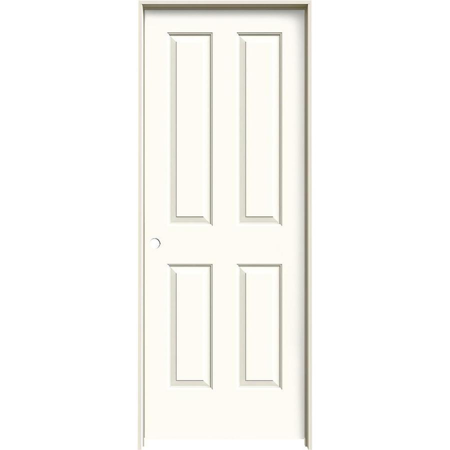 JELD-WEN White Prehung Solid Core 4 Panel Square Interior Door (Common: 28-in x 80-in; Actual: 29.562-in x 81.688-in)