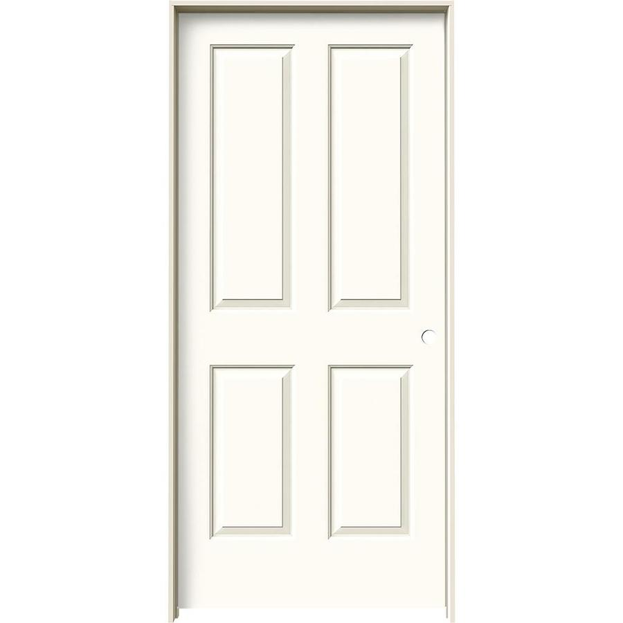 Shop jeld wen white prehung solid core 4 panel square for Prehung interior doors