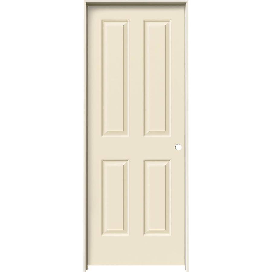 JELD-WEN Cream-N-Sugar Prehung Solid Core 4 Panel Square Interior Door (Common: 28-in x 80-in; Actual: 29.562-in x 81.688-in)