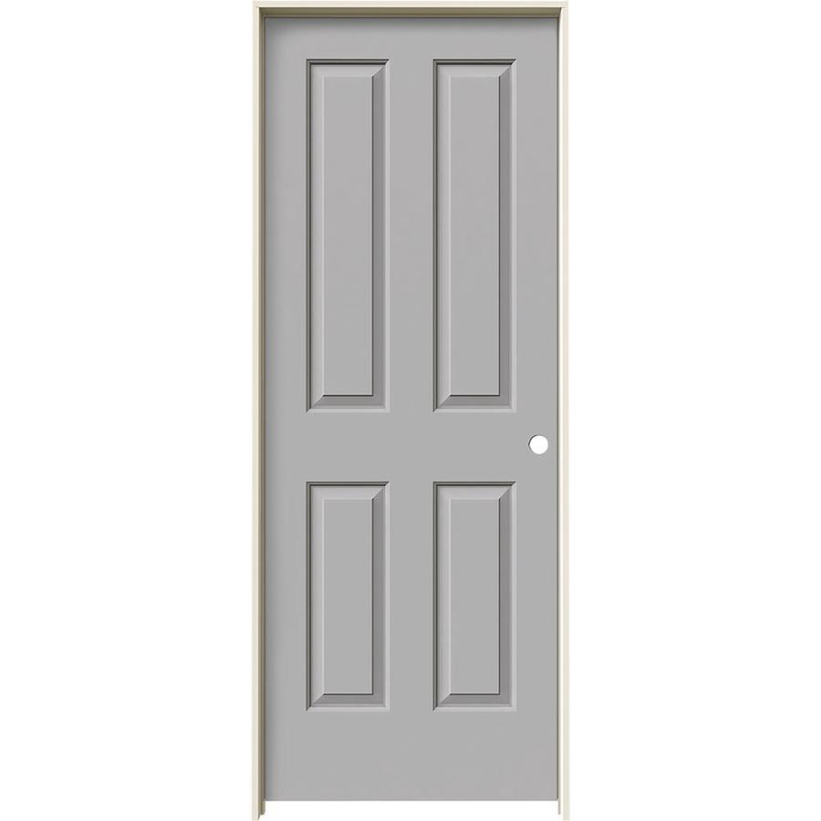 JELD-WEN Driftwood Prehung Solid Core 4 Panel Square Interior Door (Common: 28-in x 80-in; Actual: 29.562-in x 81.688-in)