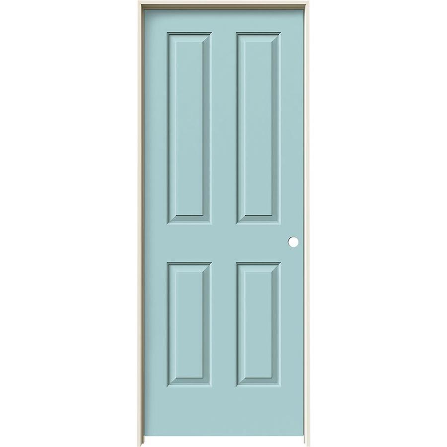 JELD-WEN Sea Mist Prehung Solid Core 4 Panel Square Interior Door (Common: 32-in x 80-in; Actual: 33.562-in x 81.688-in)