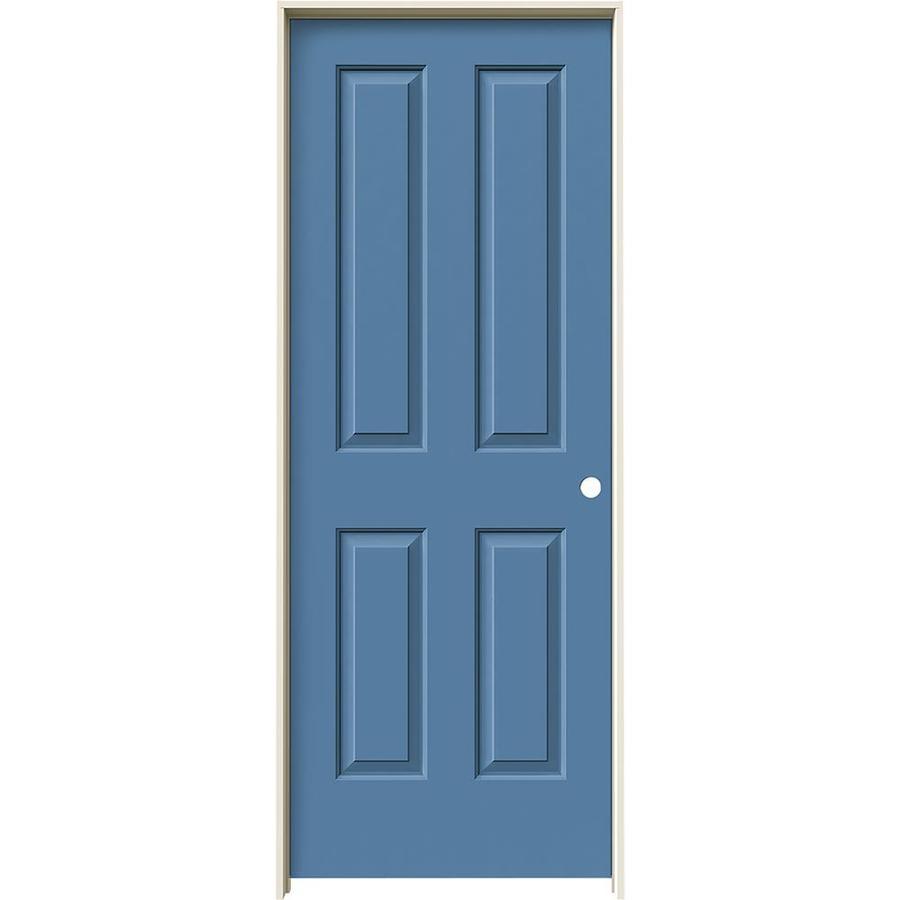 JELD-WEN Blue Heron Prehung Solid Core 4 Panel Square Interior Door (Common: 30-in x 80-in; Actual: 31.562-in x 81.688-in)