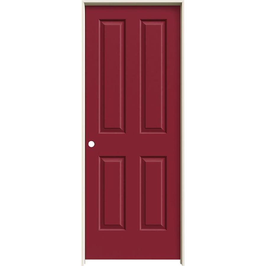 JELD-WEN Barn Red Prehung Solid Core 4 Panel Square Interior Door (Common: 28-in x 80-in; Actual: 29.562-in x 81.688-in)