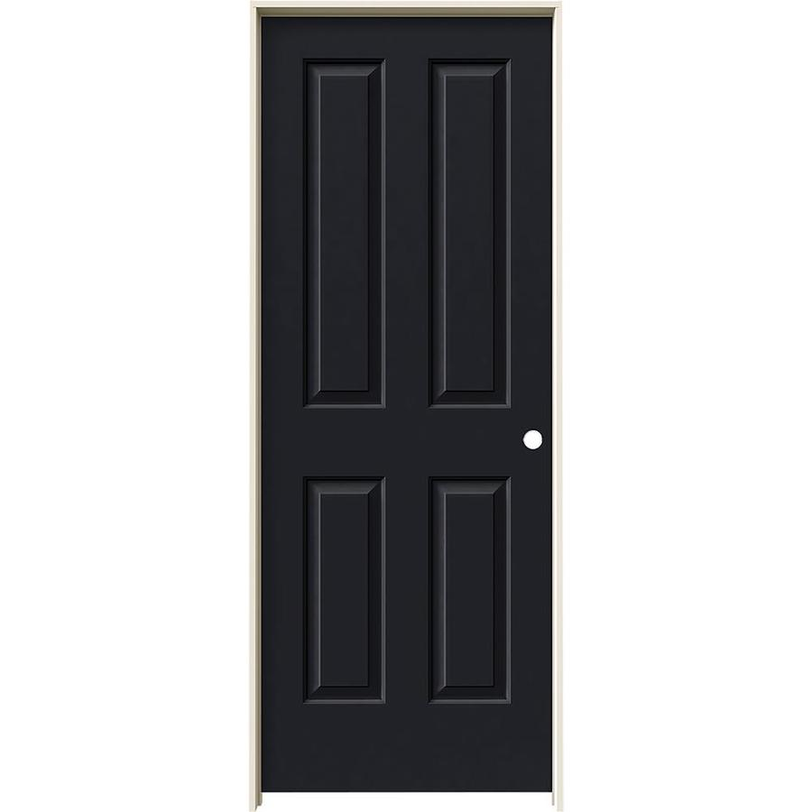 JELD-WEN Midnight Prehung Solid Core 4 Panel Square Interior Door (Common: 28-in x 80-in; Actual: 29.562-in x 81.688-in)