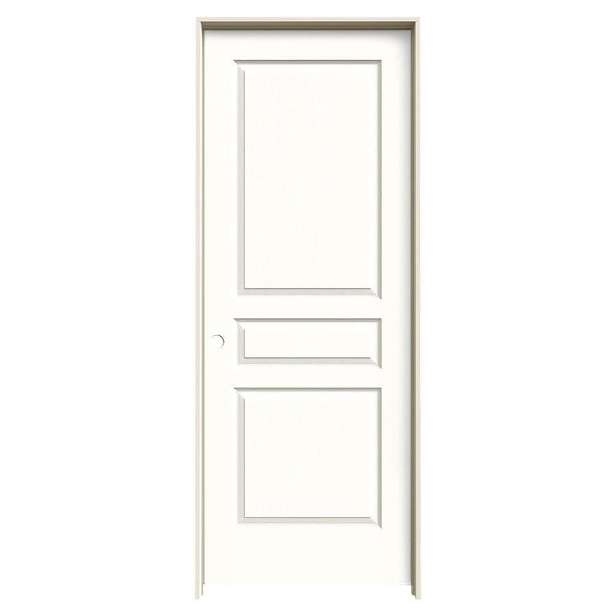 JELD-WEN Snow Storm Prehung Solid Core 3-Panel Square Interior Door (Common: 24-in x 80-in; Actual: 25.562-in x 81.688-in)