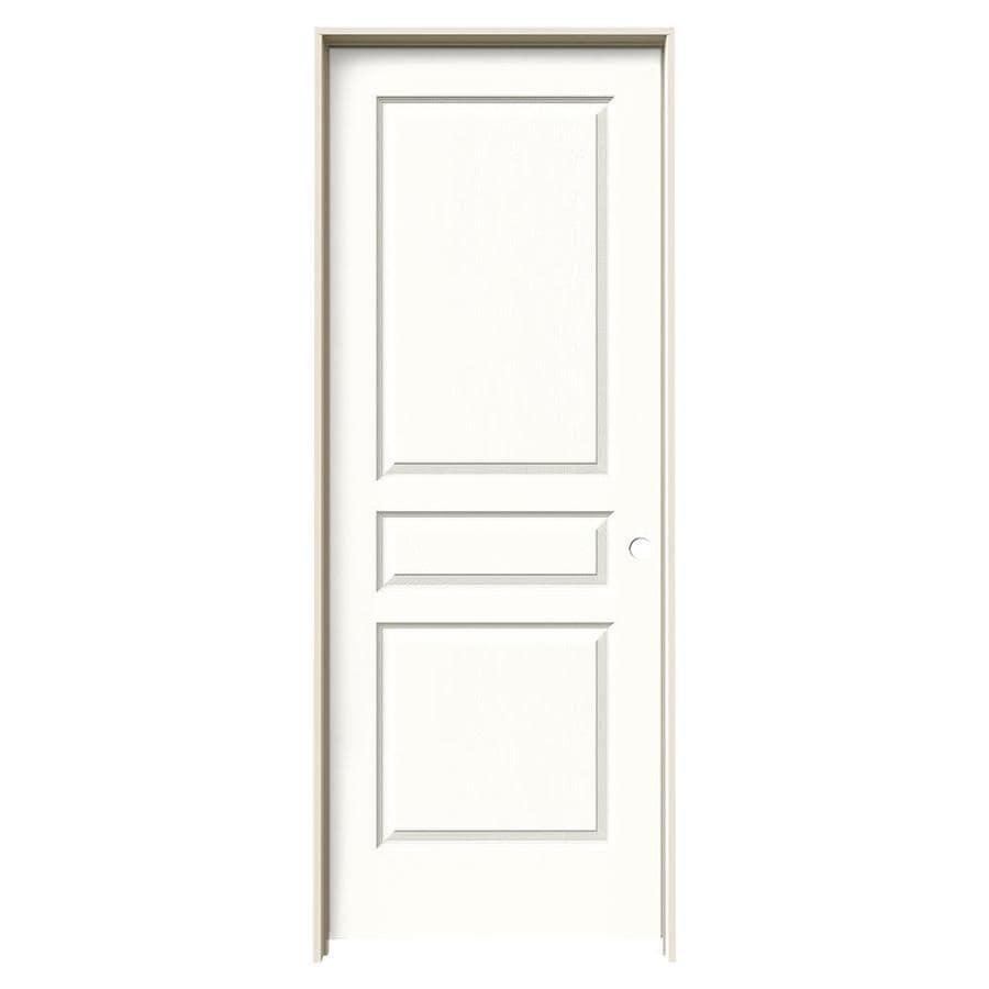JELD-WEN Snow Storm Prehung Solid Core 3-Panel Square Interior Door (Common: 32-in x 80-in; Actual: 33.562-in x 81.688-in)