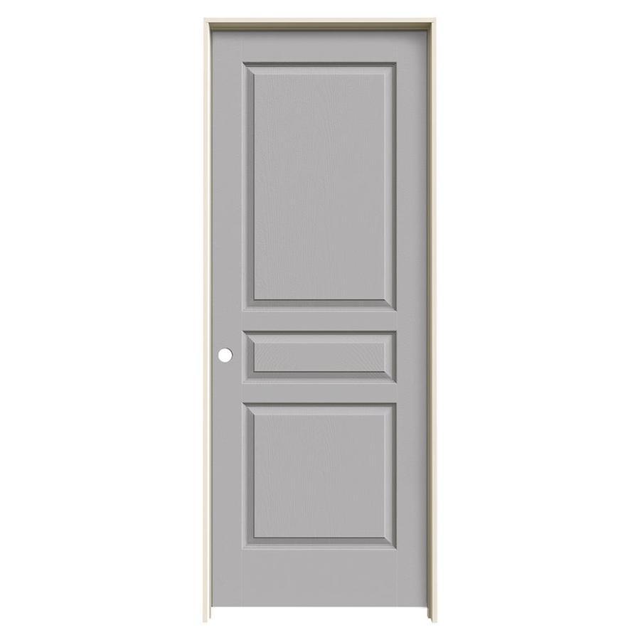 JELD-WEN Driftwood Prehung Solid Core 3-Panel Square Interior Door (Common: 28-in x 80-in; Actual: 29.562-in x 81.688-in)