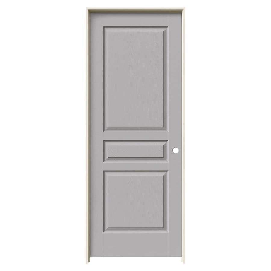 JELD-WEN Driftwood Prehung Solid Core 3-Panel Square Interior Door (Common: 32-in x 80-in; Actual: 33.562-in x 81.688-in)
