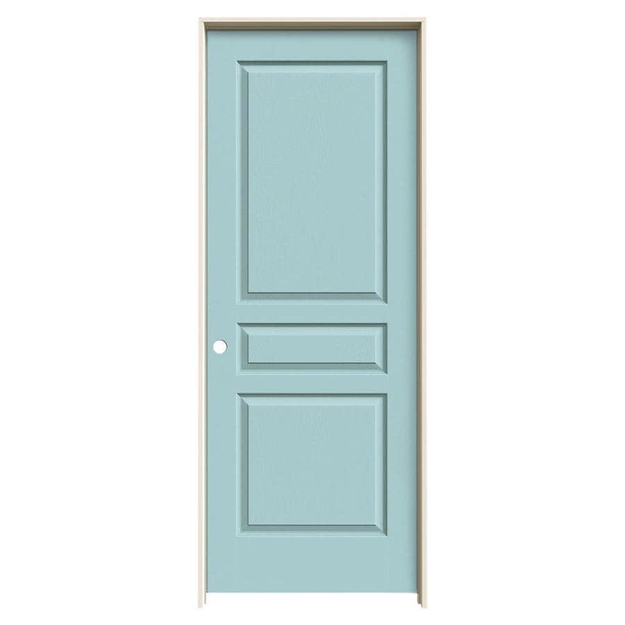 JELD-WEN Sea Mist Prehung Solid Core 3-Panel Square Interior Door (Common: 24-in x 80-in; Actual: 25.562-in x 81.688-in)