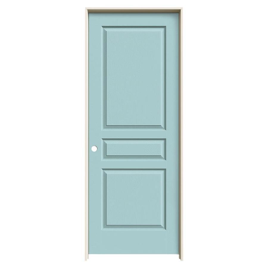 JELD-WEN Sea Mist Prehung Solid Core 3-Panel Square Interior Door (Common: 32-in x 80-in; Actual: 33.562-in x 81.688-in)