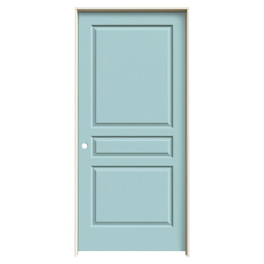 JELD-WEN Sea Mist Prehung Solid Core 3-Panel Square Interior Door (Common: 36-in x 80-in; Actual: 37.562-in x 81.688-in)