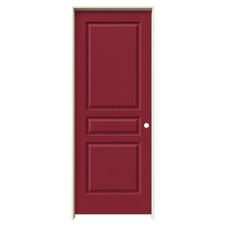 JELD-WEN Barn Red Prehung Solid Core 3-Panel Square Interior Door (Common: 28-in x 80-in; Actual: 29.562-in x 81.688-in)