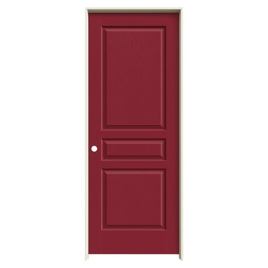 JELD-WEN Barn Red Prehung Solid Core 3-Panel Square Interior Door (Common: 32-in x 80-in; Actual: 33.562-in x 81.688-in)