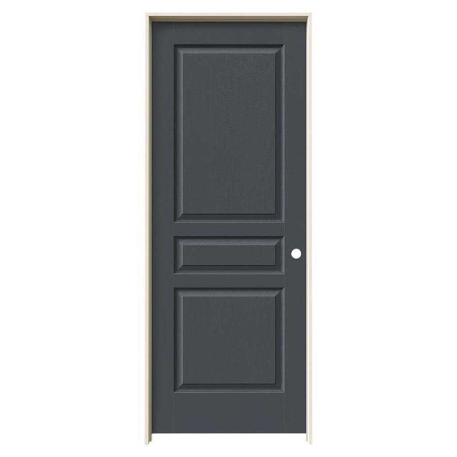 JELD-WEN Slate Prehung Solid Core 3-Panel Square Interior Door (Common: 30-in x 80-in; Actual: 31.562-in x 81.688-in)