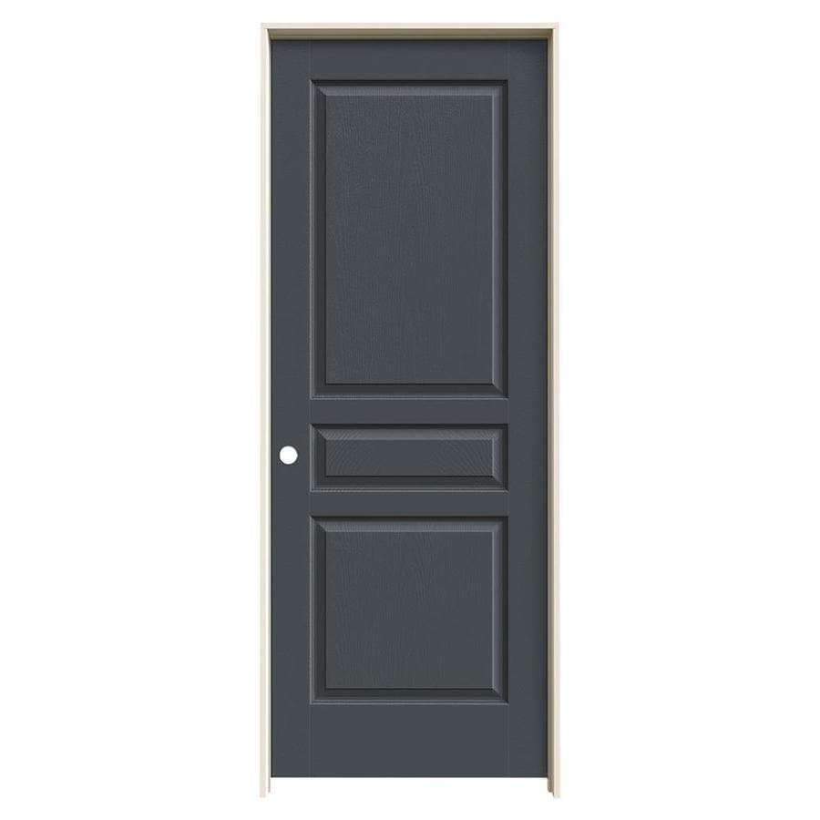 JELD-WEN Slate Prehung Solid Core 3-Panel Square Interior Door (Common: 32-in x 80-in; Actual: 33.562-in x 81.688-in)