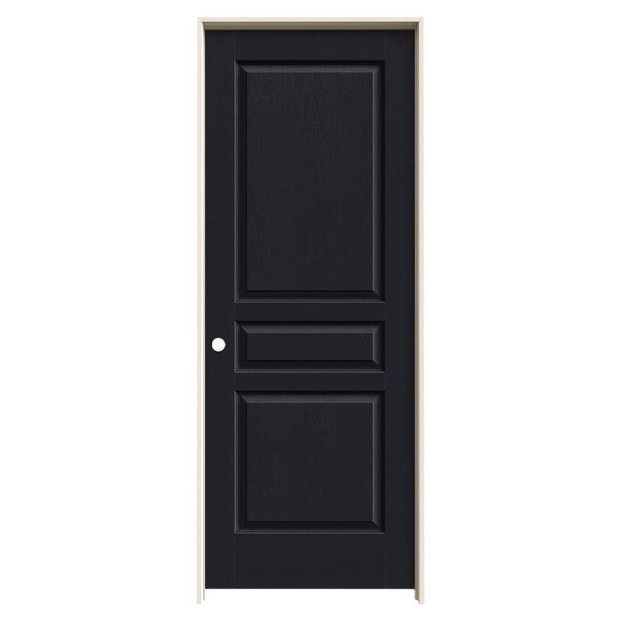 JELD-WEN Midnight Prehung Solid Core 3-Panel Square Interior Door (Common: 30-in x 80-in; Actual: 31.562-in x 81.688-in)