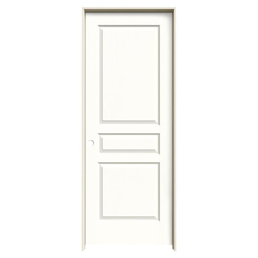 JELD-WEN Snow Storm Prehung Hollow Core 3-Panel Square Interior Door (Common: 32-in x 80-in; Actual: 33.562-in x 81.688-in)
