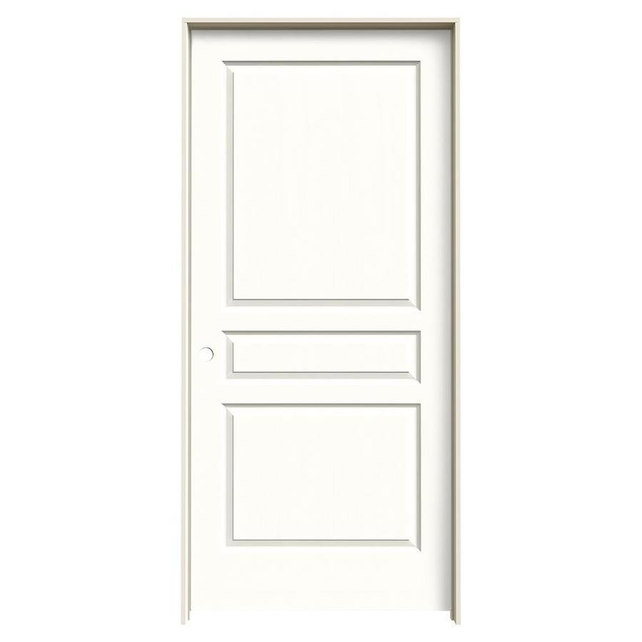 JELD-WEN Snow Storm Prehung Hollow Core 3-Panel Square Interior Door (Common: 36-in x 80-in; Actual: 37.562-in x 81.688-in)