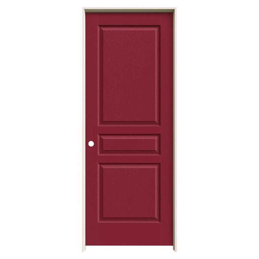 JELD-WEN Barn Red Prehung Hollow Core 3-Panel Square Interior Door (Common: 28-in x 80-in; Actual: 29.562-in x 81.688-in)