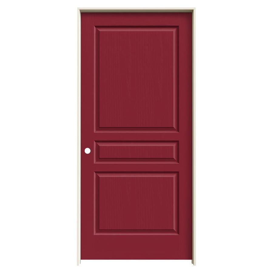 JELD-WEN Barn Red Prehung Hollow Core 3-Panel Square Interior Door (Common: 36-in x 80-in; Actual: 37.562-in x 81.688-in)