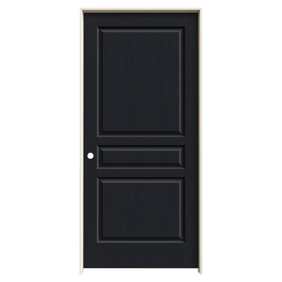 JELD-WEN Midnight Prehung Hollow Core 3-Panel Square Interior Door (Common: 36-in x 80-in; Actual: 37.562-in x 81.688-in)