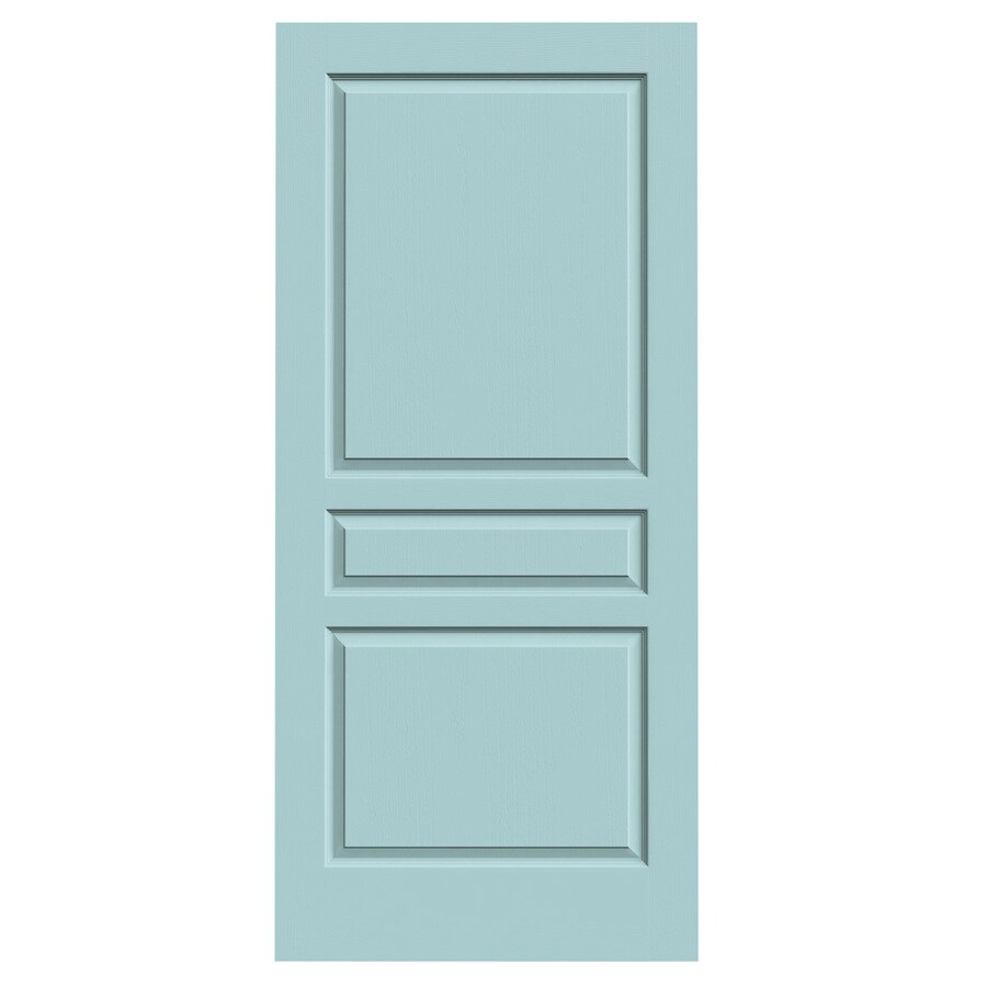 JELD-WEN Sea Mist Solid Core 3-Panel Square Slab Interior Door (Common: 36-in x 80-in; Actual: 36-in x 80-in)