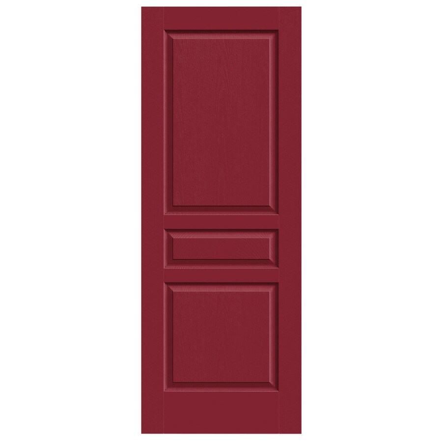 JELD-WEN Barn Red Solid Core 3-Panel Square Slab Interior Door (Common: 32-in x 80-in; Actual: 32-in x 80-in)