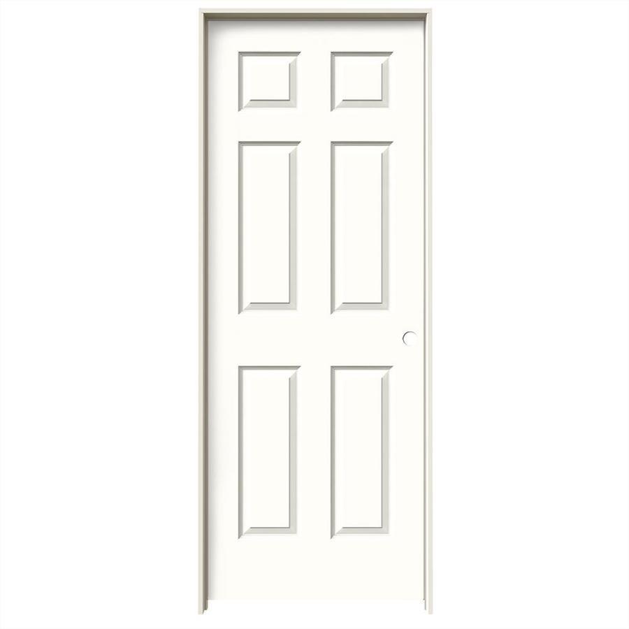 JELD-WEN Snow Storm Prehung Hollow Core 6-Panel Interior Door (Common: 28-in x 80-in; Actual: 29.562-in x 81.688-in)