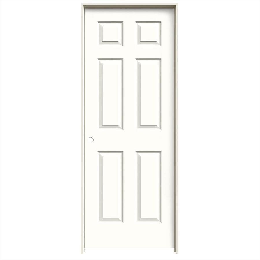 JELD-WEN Snow Storm Prehung Hollow Core 6-Panel Interior Door (Common: 32-in x 80-in; Actual: 33.562-in x 81.688-in)