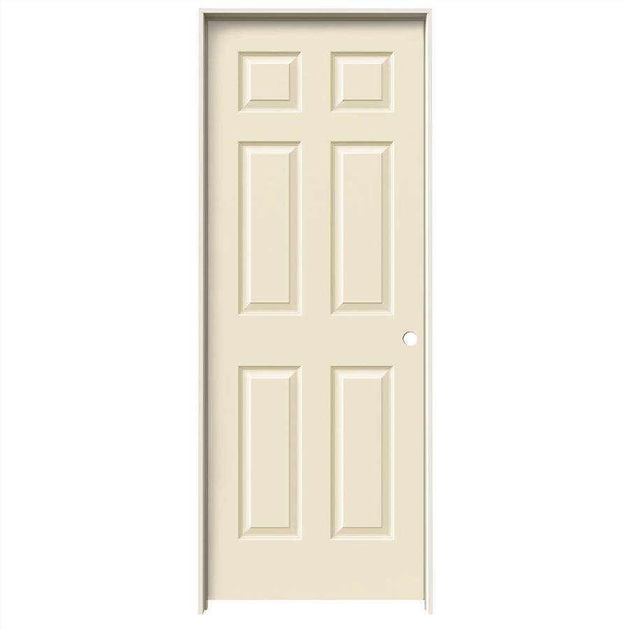 JELD-WEN Cream-N-Sugar Prehung Hollow Core 6-Panel Interior Door (Common: 30-in x 80-in; Actual: 31.562-in x 81.688-in)