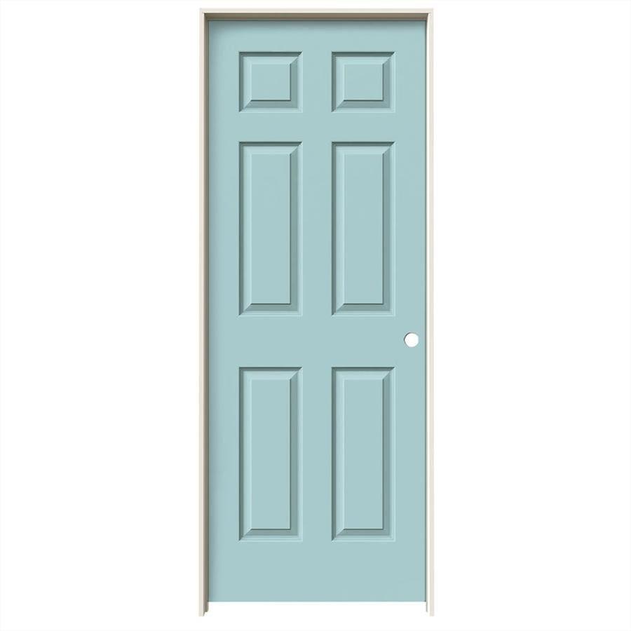 JELD-WEN Sea Mist Prehung Hollow Core 6-Panel Interior Door (Common: 28-in x 80-in; Actual: 29.562-in x 81.688-in)