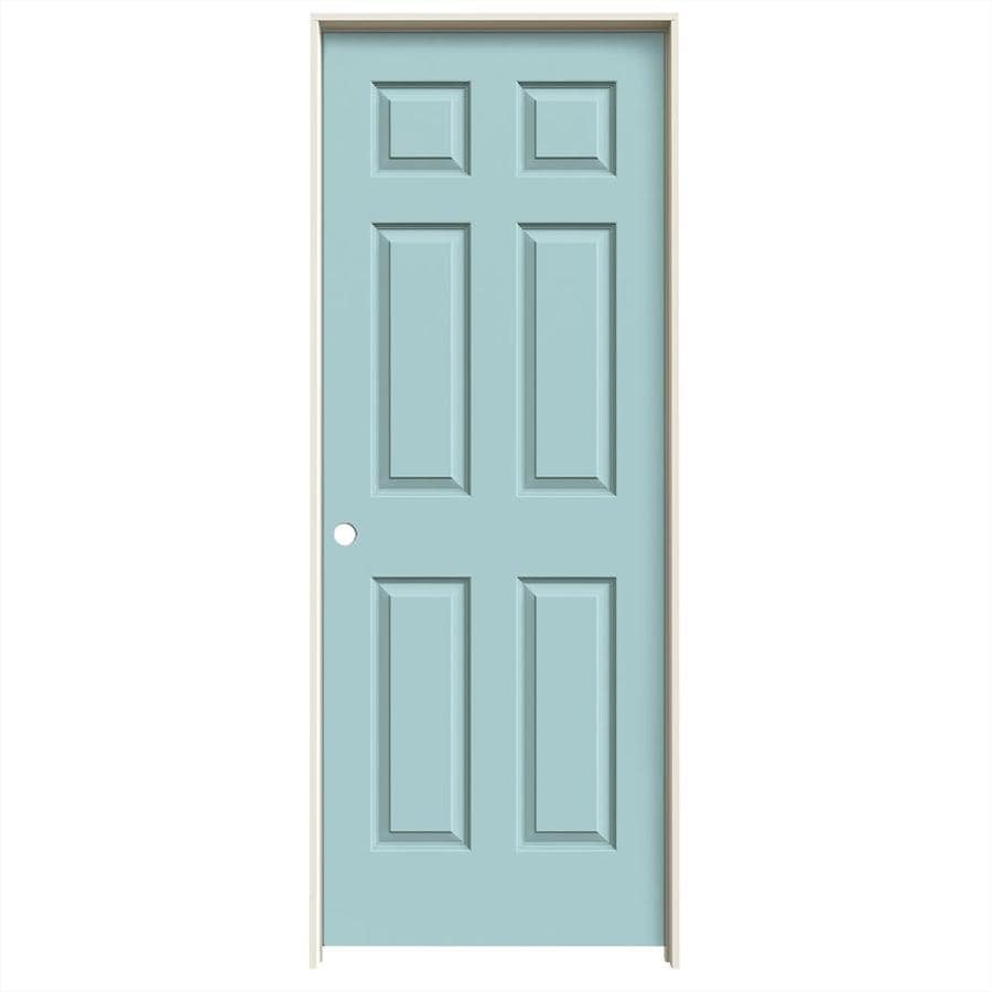 JELD-WEN Sea Mist Prehung Hollow Core 6-Panel Interior Door (Common: 32-in x 80-in; Actual: 33.562-in x 81.688-in)
