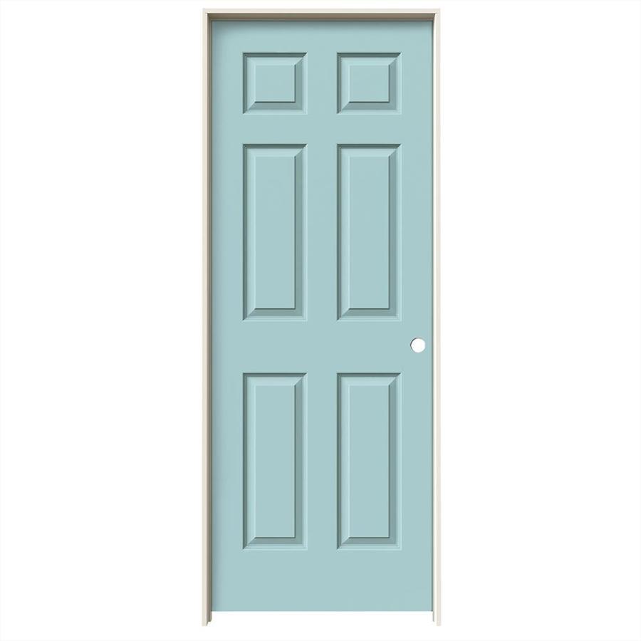 JELD-WEN Sea Mist Prehung Hollow Core 6-Panel Interior Door (Common: 32-in x 80-in; Actual: 33.562-in x 81.688-in)