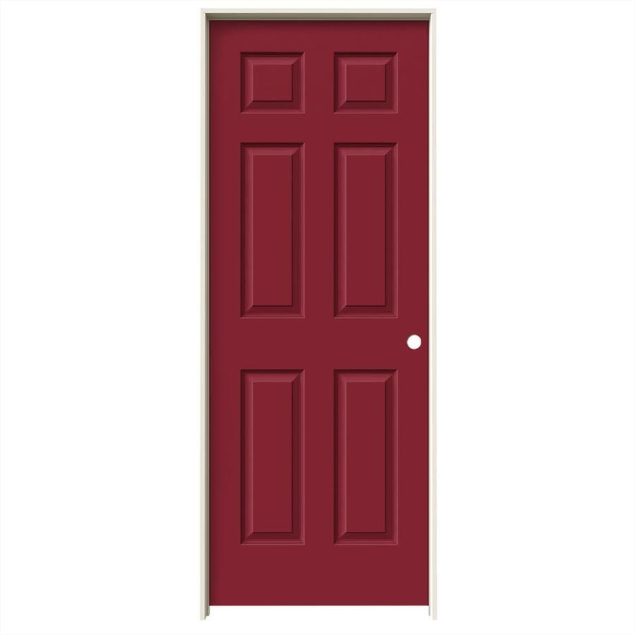 JELD-WEN Barn Red Prehung Hollow Core 6-Panel Interior Door (Common: 32-in x 80-in; Actual: 33.562-in x 81.688-in)