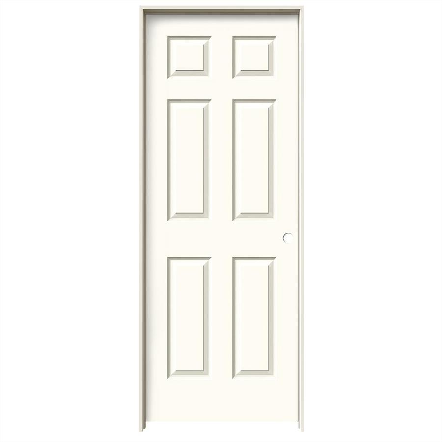 JELD-WEN White Prehung Solid Core 6-Panel Interior Door (Common: 28-in x 80-in; Actual: 29.562-in x 81.688-in)
