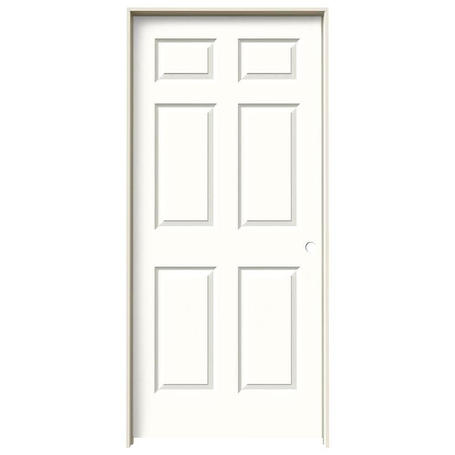 JELD-WEN Snow Storm Prehung Solid Core 6-Panel Interior Door (Common: 36-in x 80-in; Actual: 37.562-in x 81.688-in)