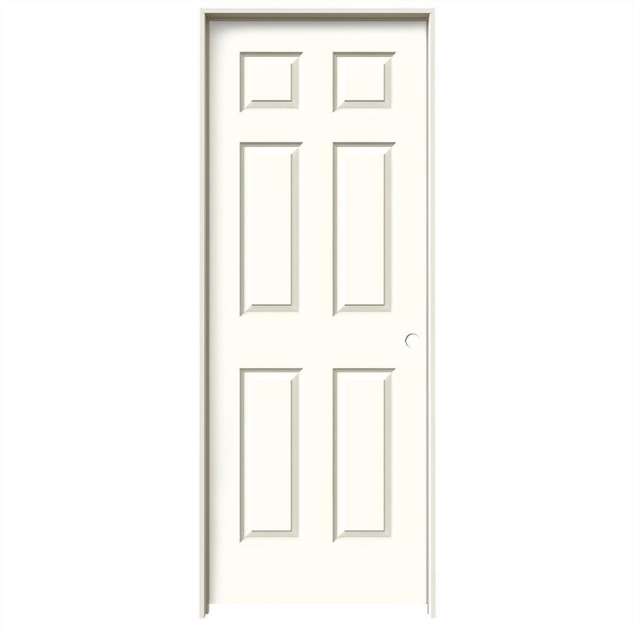 JELD-WEN Moonglow Prehung Solid Core 6-Panel Interior Door (Common: 28-in x 80-in; Actual: 29.562-in x 81.688-in)