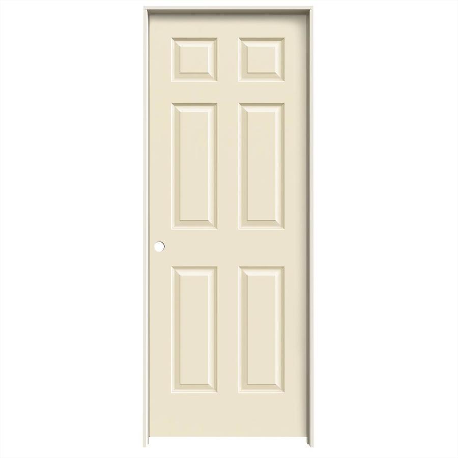 JELD-WEN Cream-N-Sugar Prehung Solid Core 6-Panel Interior Door (Common: 28-in x 80-in; Actual: 29.562-in x 81.688-in)