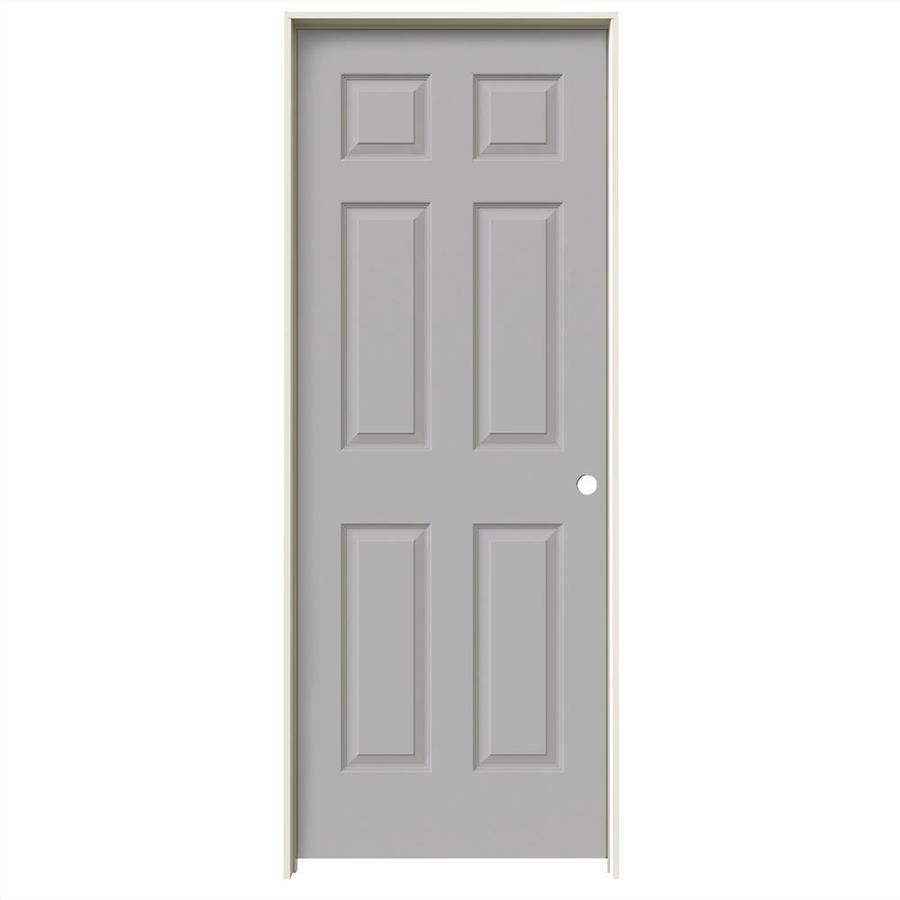 JELD-WEN Driftwood Prehung Solid Core 6-Panel Interior Door (Common: 32-in x 80-in; Actual: 33.562-in x 81.688-in)