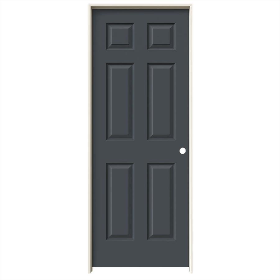 JELD-WEN Slate Prehung Solid Core 6-Panel Interior Door (Common: 28-in x 80-in; Actual: 29.562-in x 81.688-in)