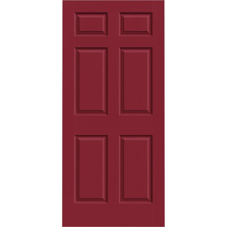 JELD-WEN Barn Red Solid Core 6-Panel Slab Interior Door (Common: 36-in x 80-in; Actual: 36-in x 80-in)