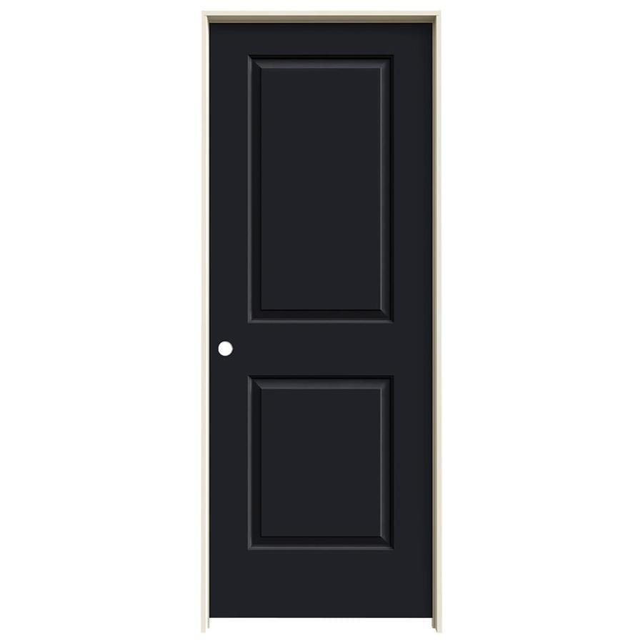 JELD-WEN Midnight Prehung Solid Core 2-Panel Square Interior Door (Common: 30-in x 80-in; Actual: 31.562-in x 81.688-in)