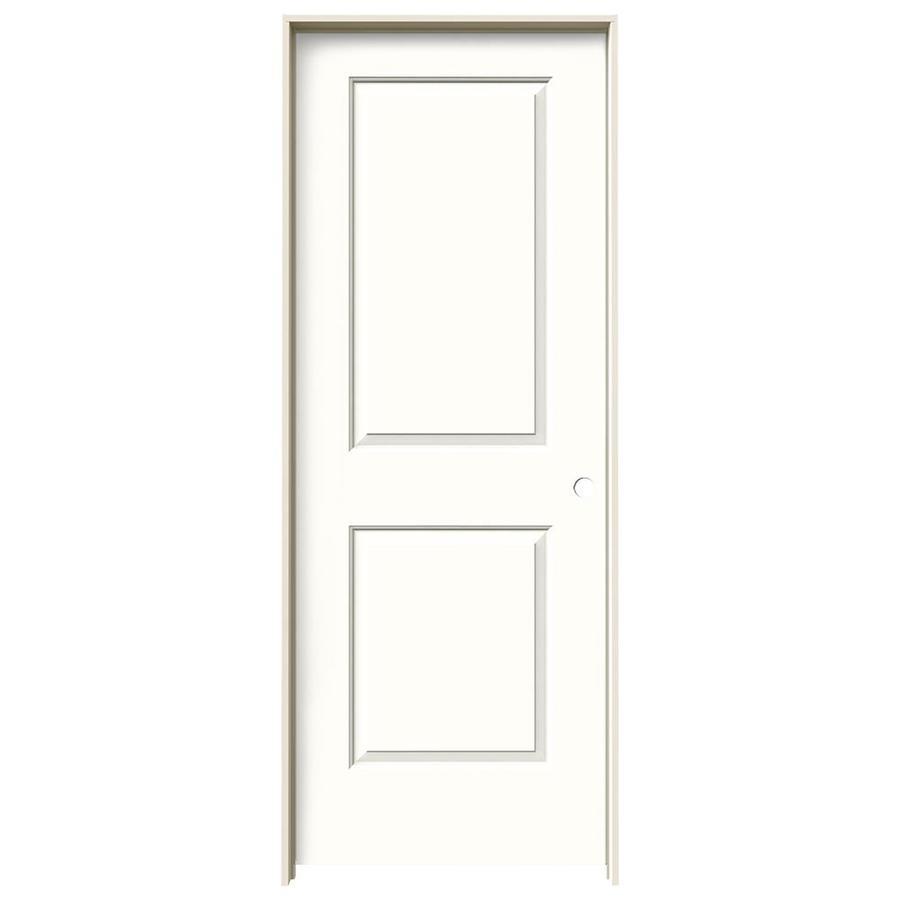 JELD-WEN Snow Storm Prehung Hollow Core 2-Panel Square Interior Door (Common: 30-in x 80-in; Actual: 31.562-in x 81.688-in)