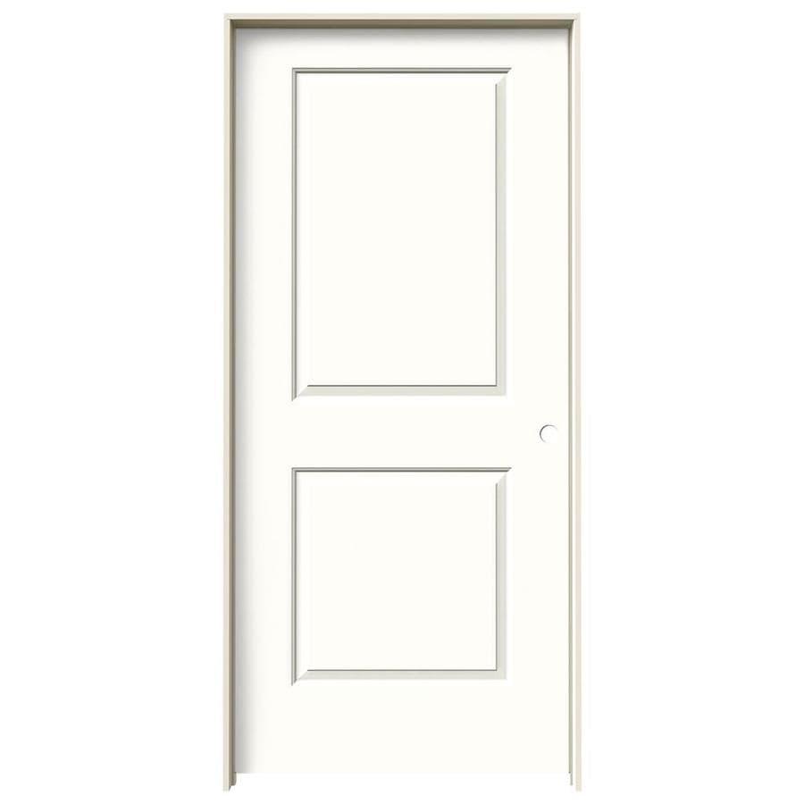 JELD-WEN Snow Storm Prehung Hollow Core 2-Panel Square Interior Door (Common: 36-in x 80-in; Actual: 37.562-in x 81.688-in)