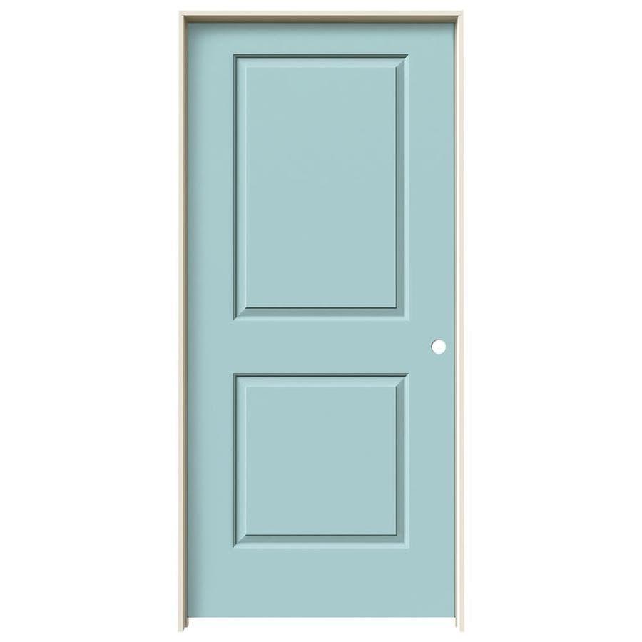 JELD-WEN Sea Mist Prehung Hollow Core 2-Panel Square Interior Door (Common: 36-in x 80-in; Actual: 37.562-in x 81.688-in)